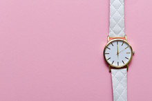 White Watch On Pink Background