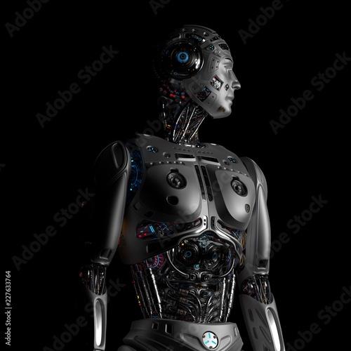 3D Render Futuristic Robot Man upper body on black background Canvas Print