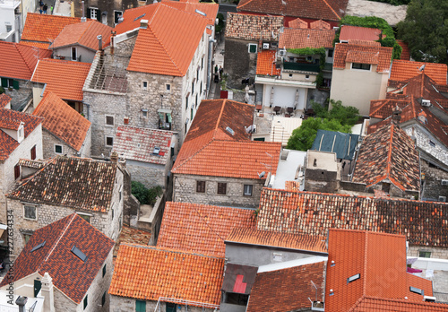 In de dag Centraal Europa View on the roofs of Omis town in Croatia.