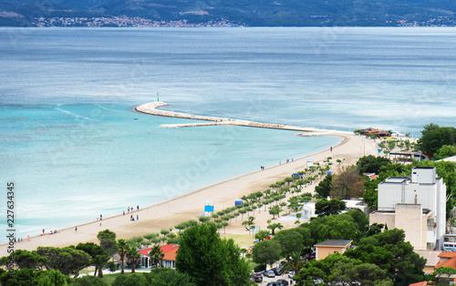 In de dag Centraal Europa Beautiful city beach in Omis city, Croatia