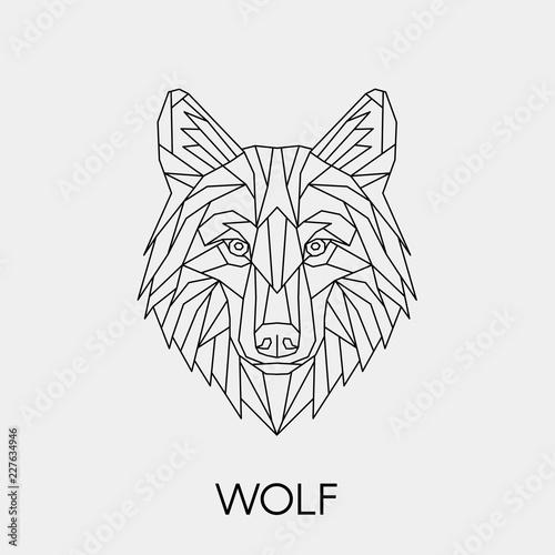 Naklejka premium Wilk geometryczny. Wieloboczna liniowa głowa zwierzęcia. Ilustracji wektorowych.