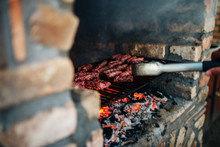 Barbecue On Stone Grill Firepl...