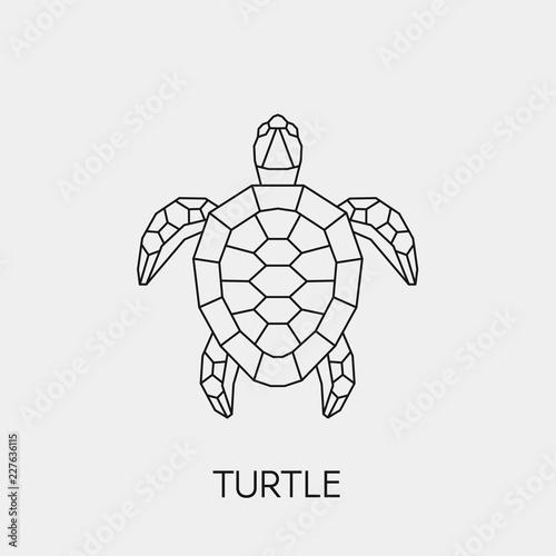 Fototapeta premium Żółw geometryczny. Wieloboczne liniowe abstrakcyjne zwierzę. Ilustracji wektorowych