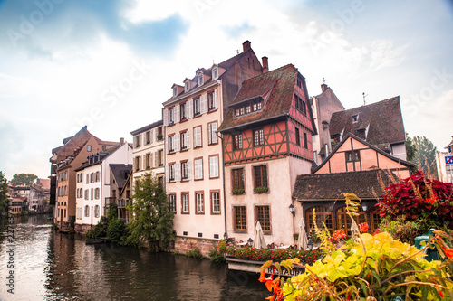 In de dag Centraal Europa View of beautiful half-timbered houses and canal seen from Strasbourg France