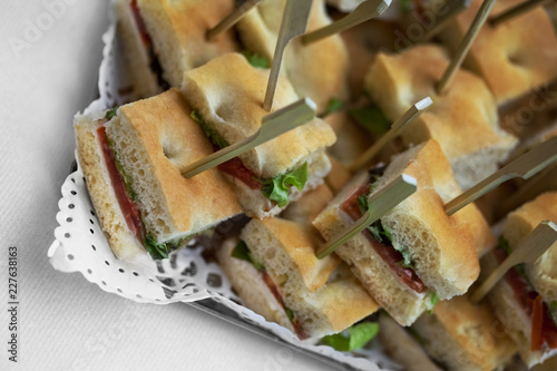 Papiers peints Buffet, Bar Toast and canapes on a caterer buffet