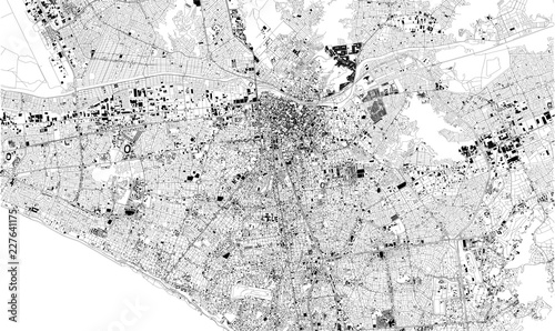 Photo Mappa satellitare di Lima, Peru, strade della città