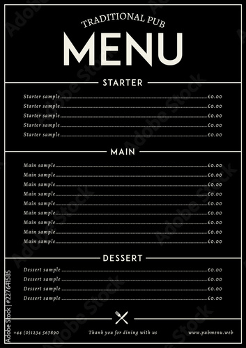 Modern pub style restaurat menu