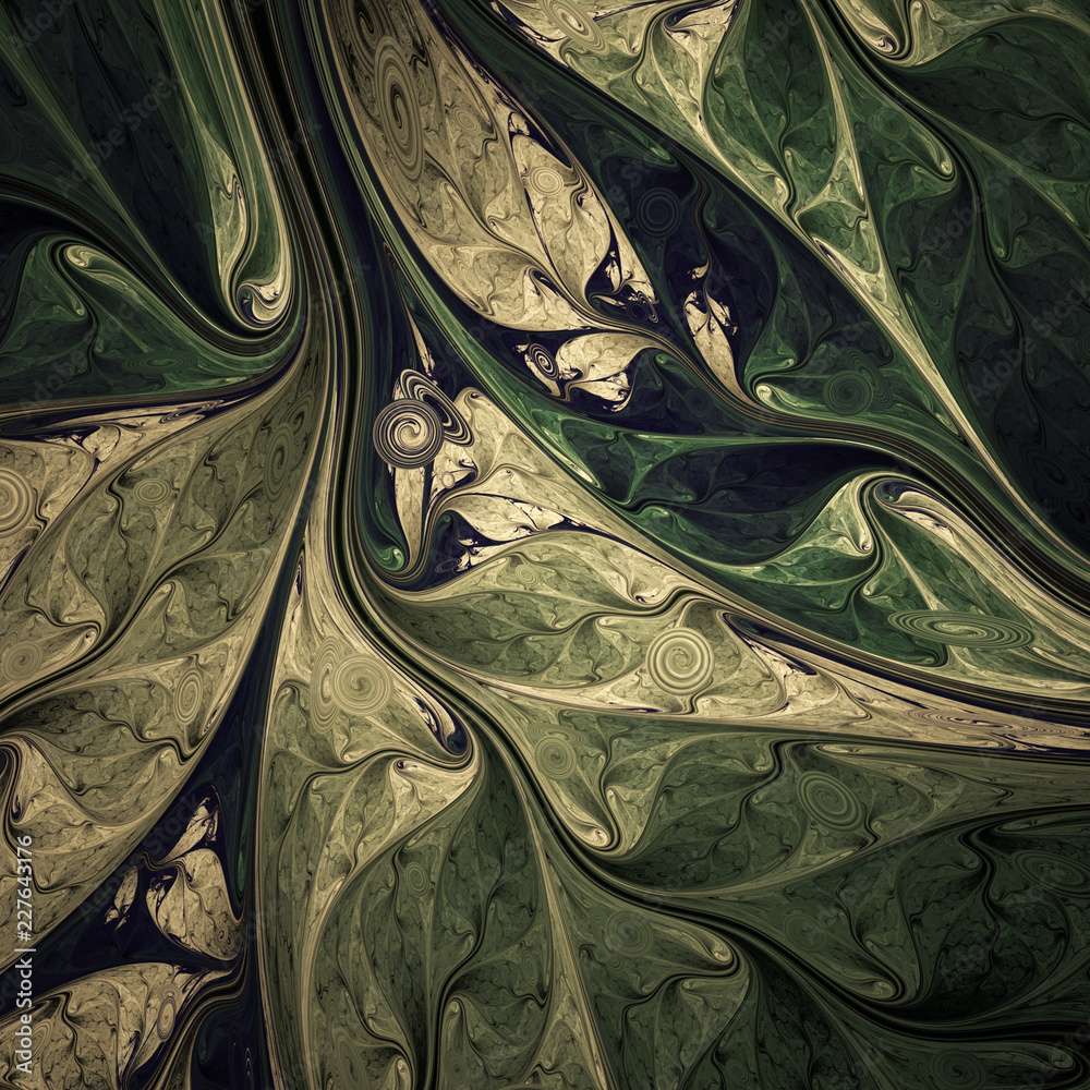 Abstract exotic tropical green leaves. Digital fractal art. 3d rendering.