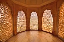 Pattern Of Old Windows Inside Amer Fort.