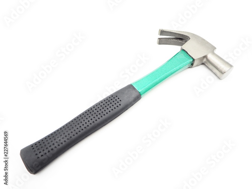 Green iron hammer with rubberized handle isolated on a white background.