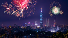 Taipei Cityscape Night Light With Fireworks 6