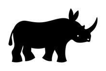 Black Rhinoceros Silhouette. Vector