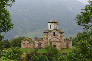 Fototapeta na wymiar Interior view of an ancient monastery on top of a mountain in the Caucasus in Russia.