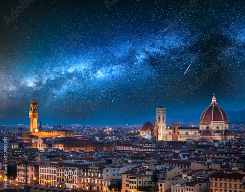 Ingelijste posters Florence Milky way and falling stars over Florence at night, Italy