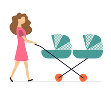 Mother And Stroller For Twins....