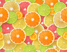 Citrus Fruits Background. Seamless Pattern With Pieces Of Orange, Lemon, Lime, Grapefruit And Kumquat