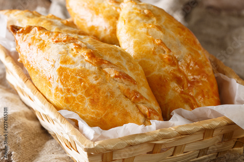 Kibinai (kybyn, kybynlar) are traditional pastries filled with mutton and onion, popular with Karaite ethnic minority in Lithuania. Horizontal