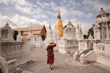 Tourist Is Enjoy Traveling At Wat Suan Dok In Chiangmai, Thailand.