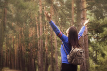 Hiker Woman With Raised Arms U...