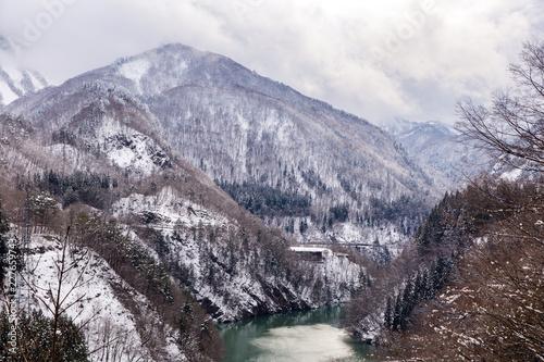 Deurstickers Asia land Train in Winter landscape snow