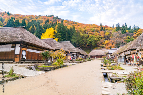 Deurstickers Asia land Ouchujuku Village sunset Fukushima Japan