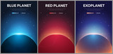 Set of banners Mars, Earth, Exoplanet. Astronomical galaxy space background. Vector Illustration.