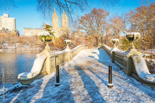 Keuken foto achterwand New York City Central Park. New York. USA in winter covered with snow. Bow bridge.