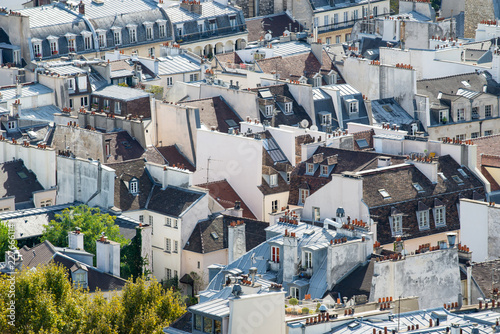 Paris rooftops seen from tower of Notre Dame. Canvas Print