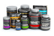 canvas print picture Sports  nutrition (supplements) for bodybuilding. Whey protein casein, bcaa, creatine isolated on white background.