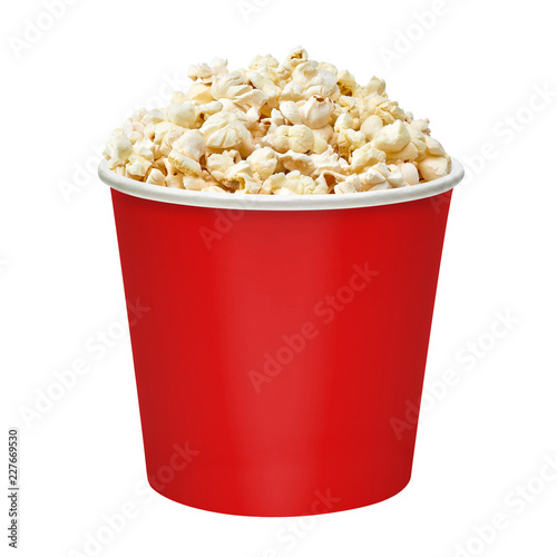 Popcorn in striped paper or carton bucket isolated on white background Wall mural