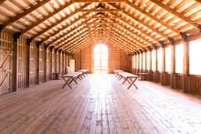 Wooden Barn Hall For Rustic Wedding Party