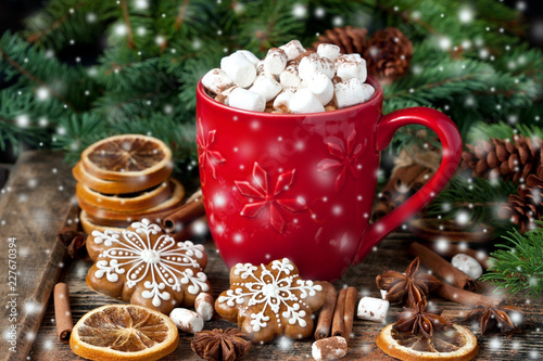 Mug filled with hot chocolate and marshmallows and gingerbread cookies