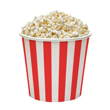 Popcorn In Red And White Striped Cardboard Or Carton Bucket Mockup Or Mock Up Template Isolated On White Background
