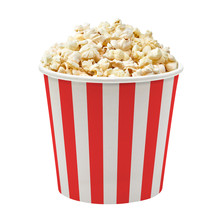 Popcorn In Striped Paper Or Carton Bucket Isolated On White Background
