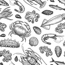 Seamless Pattern With Seafood ...