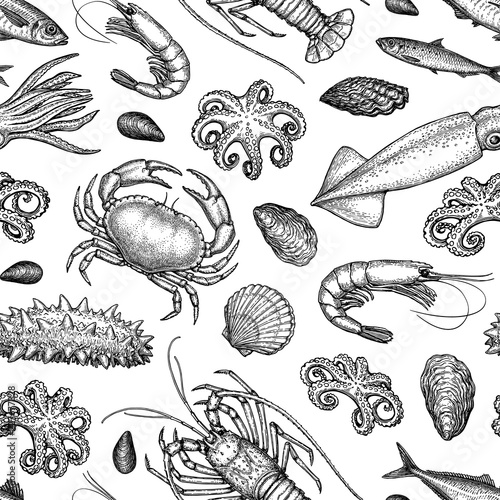 Seamless pattern with seafood and fish. Canvas Print