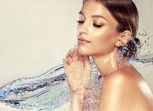 Beautiful Spa Woman With Water...