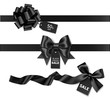 Decorative horizontal black ribbon with bow and price tag for black friday sale design. Vector decoration and label