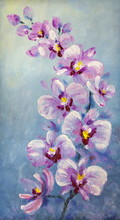 Orchid Flowers. Oil Painting