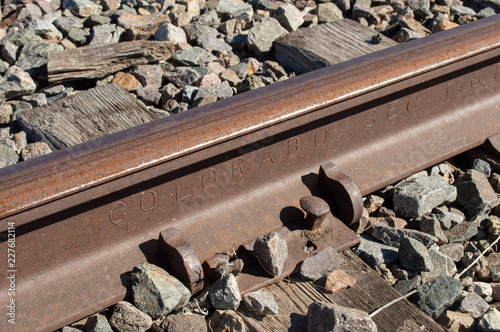 Colorado railroad rail with the words