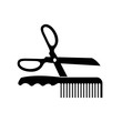 black scissor and comb bursh icons for hairstyle, hair cutting, also tailor and barbershop background
