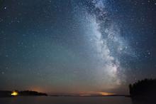 Milky Way And Stars Above Lake.