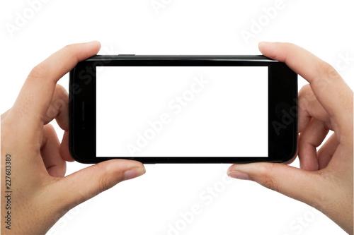 Valokuva  Handy in der Hand vor weißem Hintergrund