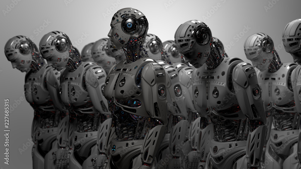 Fototapeta 3D Render Futuristic Robot army or group of cyborgs on gray background
