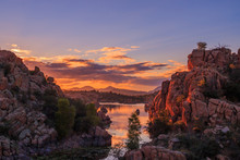Sunset Reflection At Watson Lake Prescott Arizona
