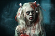canvas print picture - blonde zombie girl