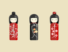 Japanese Doll. Oriental Toy, Souvenir, Sign. The Girl In The Kimono. Vector.
