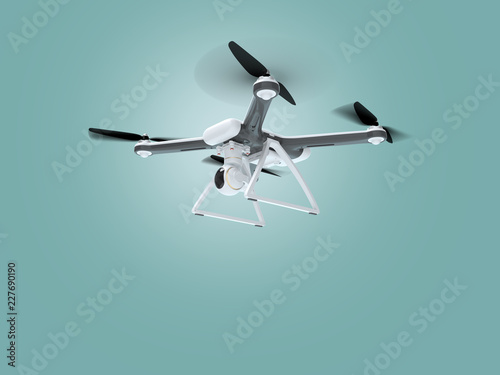 Concept of a flying drone. 3d illustration.