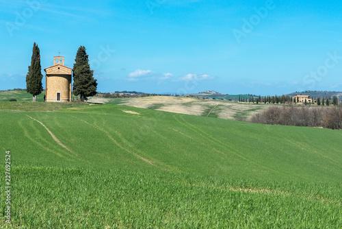 Tuscany landscape with the little chapel of Madonna di Vitaleta, Tuscany, Italy
