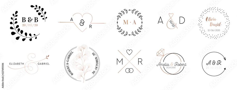 Fototapety, obrazy: Wedding monogram logos collection, hand drawn modern minimalistic and floral templates for Invitation cards, Save the Date, elegant identity for restaurant, boutique, cafe in vector